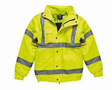 Dickies Bomber Jacket High Visibility Warm Padded Coat Yellow Work Size