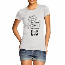 Women Cotton Novelty Cute Animal Design Boys Whatever Cats Forever T-Shirt