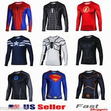 Superhero Costume Tee Captain America Spiderman Batman T-Shirt Sports Jersey