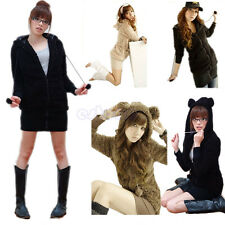 Women's Stunning Korean Fashion Cute Bunny Ears Fleece Sweater Hoodie Coat Tops