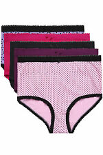 Plus Size Womens Purple, Pink And Printed 5 Pair Pack Cotton Full Brief