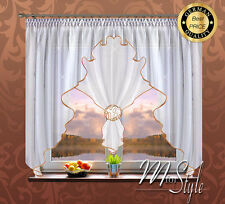Voile Net Curtain White Gold Flower Ready Made Fits Small Medium Window