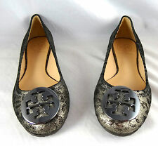 Tory Burch Reva Cheetah Anthracite Leather Ballet flat shoes 5-12