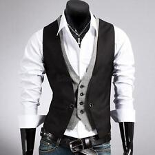 Men's Slim Vest Suit Style Double Layered Single Row Button Vest Waistcoats B73