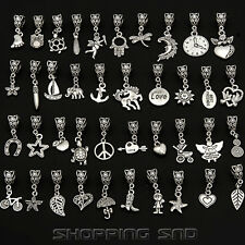 Lots Tibetan Silver Mix Dangle Charm Fit European Bracelet Bails Beads Pendants