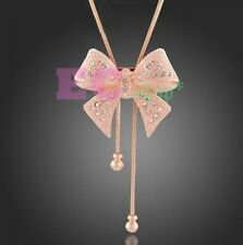 18k Rose Gold GP Austrian Crystal bow-knot sweater chain pendant necklace N507