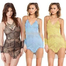Women Sheer Dress Mesh See-through V-neck Floral Lace Hollow Out Party Dresses