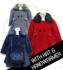 Designer Couche Tot Girls Formal 3PC Winter Coat Hat and Hand muff / Handbag Set