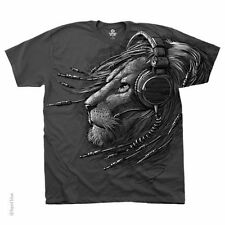 New PLUGGED IN LION T-Shirt HEADPHONES LION HEAD FACE TEE  M L XL 2XL