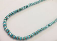 Turquoise Jewelry made with 6mm faceted turquoise and silvered Czech roundels