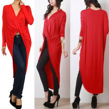 Plus women's twisted drape jersey solid color wrapped hi-lo maxi top XL 2XL