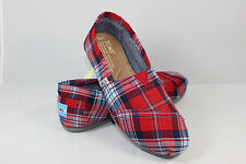 New AUTHENTIC TOMS Women's Classics RED WOVEN PLAID Shoes with Original Box