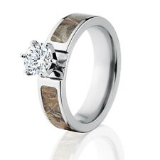 Official Licensed RealTree Max 4 Engagement Bands 1CT CZ, Camo Wedding Rings