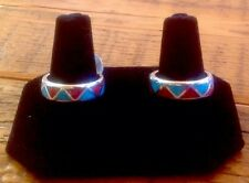 Sterling Silver Turquoise and Coral Wedding Band Ring