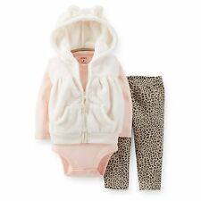 Carters Baby Girl 3-Piece Velboa Vest Set Outfit Clothes 6 9 12 18 24Months NWT