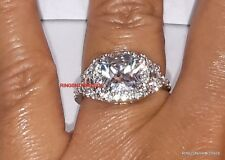 Silver 925 Halo Princess CZ Engagement Wedding Ring Sizes 5.5, 6.5,7.5,8.5,9,10