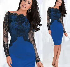 Classy Off Shoulder Sexy Lady Lace Pencil Slim Bodycon Club Cocktail Prom Dress
