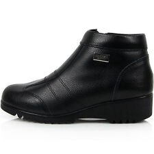 New Leather Winter Casual Warm Snow Zip Ankle Boots Womens Shoes Black
