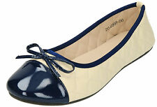 Ladies New Beige Quilted Navy Blue Patent Toe Bow Flat Ballet Dolly Shoes Pumps