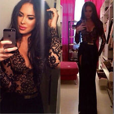 Sexy Women Lace Long Sleeve Prom Ball Cocktail Party Dress Formal Evening Gown