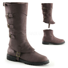 PLEASER MENS Brown Faux Leather DETACHABLE Medieval Renaissance Costume Boots