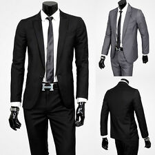 Mens Fashion Casual  Formal Business Suits Sets Fitted One-button Coat+Pant