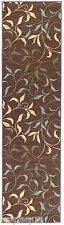Custom Size Stair Hallway Runner Rug Rubber Back Non Skid Brown Floral #5110