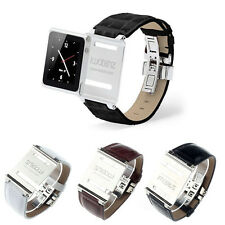 Leather Aluminum Watch Band Strap for iWatchz iPod Nano 6 6th Gen New Gayly