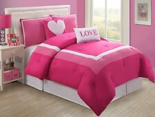 NEW Teen Girls Kids Bedding Comforter Set Bed Pink Love Twin/Full Bed in a Bag