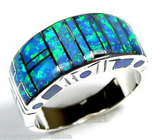Handcrafted Blue Fire Opal Inlay 925 Sterling Silver Men's Band Ring Size 9 -13