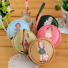 Girl Round Case Coin Purse PU Leather Wallet Makeup Buggy Bag Pouch K1464FL