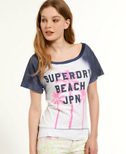 New Womens Superdry Palm Tree T-Shirt Beach Blue