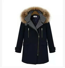 Winther Womens Fur Collar Hooded Thick Warm Cotton Wool Blend Trench Jacket Coat