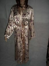 Ex M&S ladies silky satin pink poppy floral house coat dressing gown