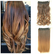 Hot Fashion Clip in on Ombre Hair Extensions Straight Curly Wavy Brown Blonde