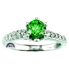 1.33CT NATURAL EMERALD GREEN WHITE DIAMOND RING 18K / 14K GOLD ENGAGEMENT EW EHS