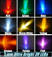 3mm LED Bulbs - Ultra Bright 3V Water Clear Bulb | 9 Different Colours - Choose