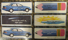 Days of the week flash cards ~ Various designs all 19.5cm x 7cm rounded corners