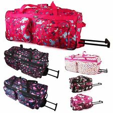 Travel Bag Suitcase Womens Girls Hand Luggage Holdall Wheeled Cabin Quality New
