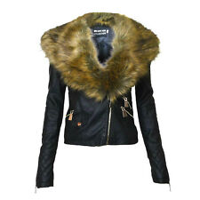 NEW LADIES BLACK FAUX FUR LEATHER CROPPED BIKER JACKET COAT