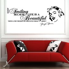 Marilyn Monroe wall art quote keep smiling life is beautiful vinyl sticker decal