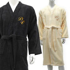 MEN PERSONALIZED MONOGRAM TERRY BATHROBE COLORS BLACK, BEIGE-SIZES M, L, XL, XXL