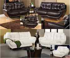 3 Pcs Volos Modern Living Room Set Sofa Loveseat & Chair Leather Couch Furnitur