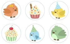 Birthday Birds Edible Cupcake Toppers Decoration Birthday Party Birthday Cake