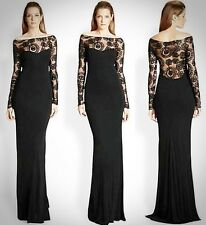 ABS Allen Schwartz $590 Black Embroidered Illusion Gown Sz XS NEW