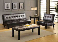 Belmont Espresso Leatherette Sofa Bed Bonded Leather Living Room Furniture Couch