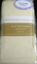 """SET OF 12 WENTWORTH COLLECTION ECRU CLOTH NAPKINS- 100% COTTON- 16"""" X 16""""- NEW"""