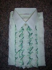 Vintage Mint Green Tuxedo Shirt with Detachable Solid Green Ruffle Options
