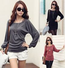 New Women Fall Casual Sexy Cotton Batwing Sleeve Loose T-Shirt Tops Blouse