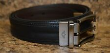 NEW DOCKERS Mens Leather Double Stitched Reversible Belt Black Brown